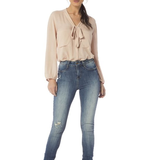 725d65e74 Calça Jeans Denim Zero Skinny Média Estonada Feminina - Jeans ...