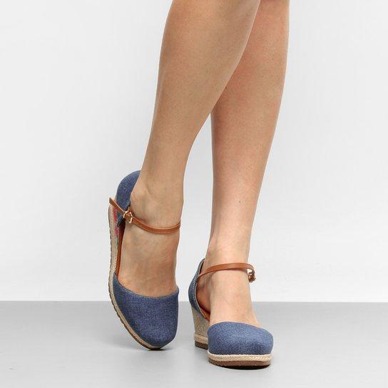 fa9765e35a Sandália Anabela Bebecê Espadrille Bordada Jeans Feminina - Jeans