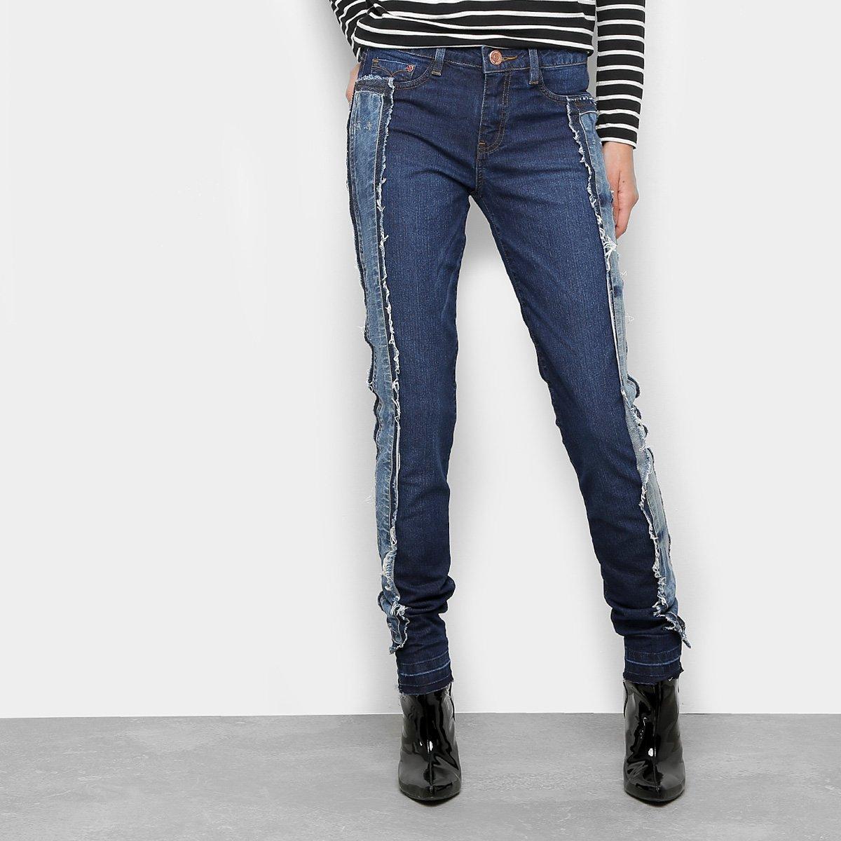 Calça Jeans Reta Carmim Upcycling Cintura Média Feminina