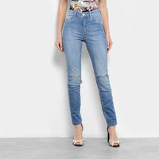 42d402314 Calça Jeans Skinny Carmim Estonada Rasgos Cintura Média Feminina