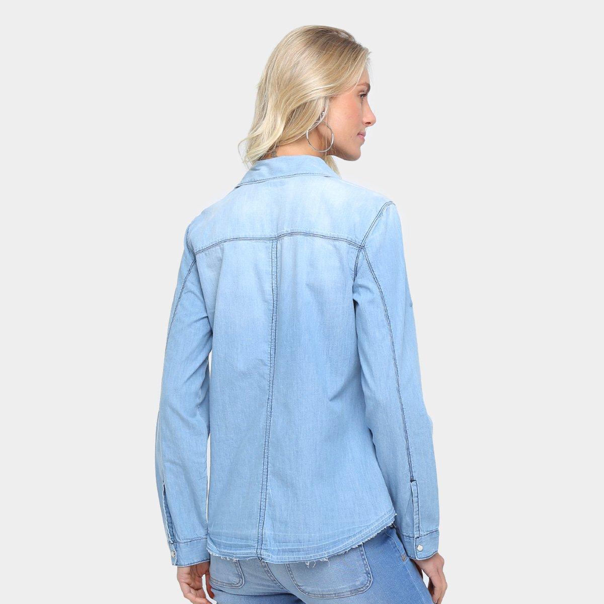 145ebb23c5 Camisa Jeans Colcci Estonada Manga Longa Feminina