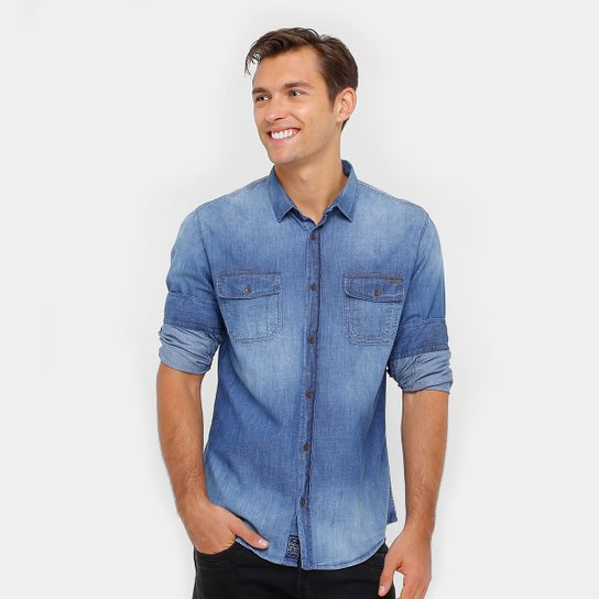 25d3bc2670 Camisa Jeans Colcci Manga Longa Estonada Bolso Masculina - Compre ...