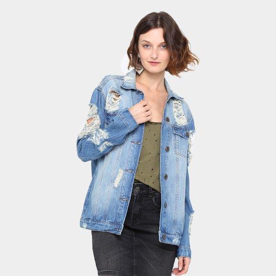 da77f7f6bd Jaqueta Jeans Colcci Indigo Rasgada Feminina - Jeans
