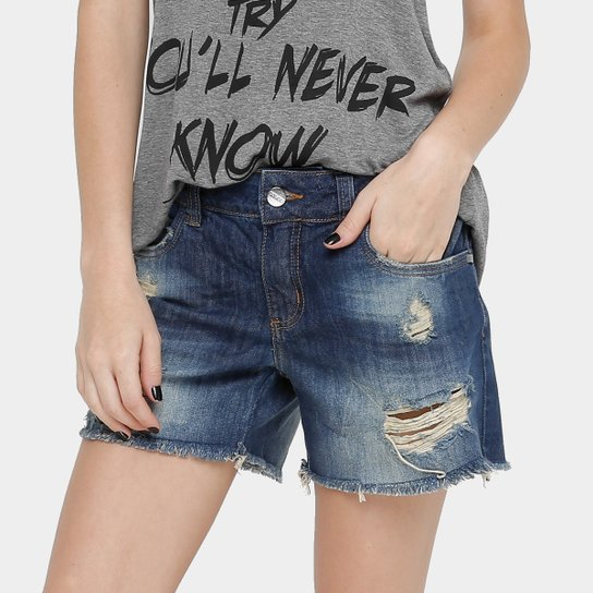591280813a Bermuda Jeans Colcci Indigo Rasgada Feminina - Compre Agora