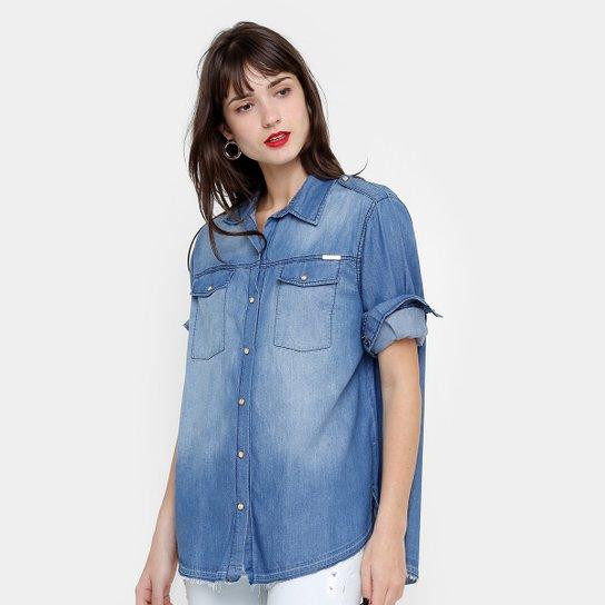 Camisa Jeans Colcci Indigo Manga Longa Bolsos Feminina - Compre ... f5c87b4288997