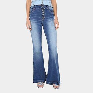 9270b44dd Calça Jeans Flare Colcci Karen Botões Cintura Alta Feminina