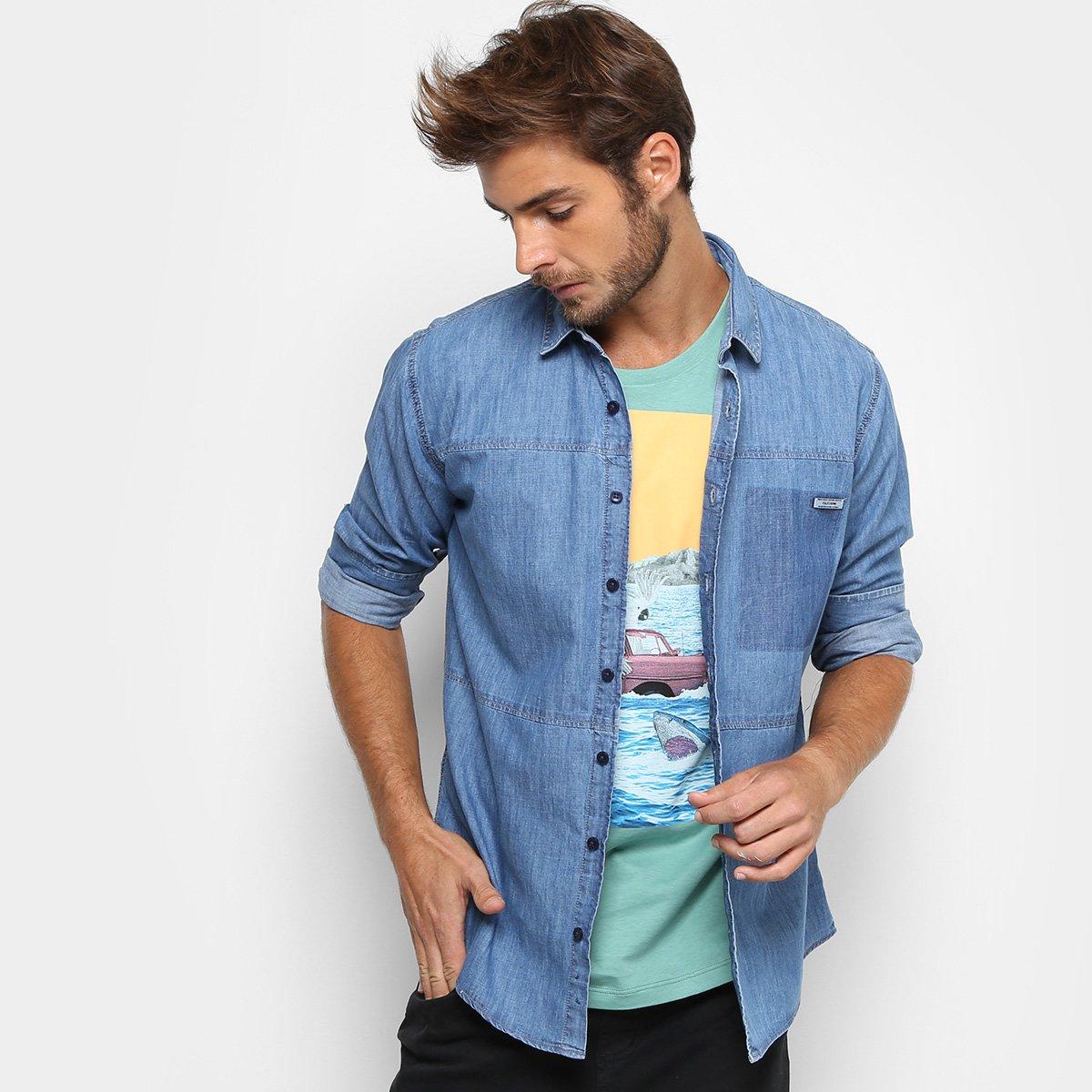Camisa Jeans Colcci Manga Longa Slim Masculina fc40cd78f04