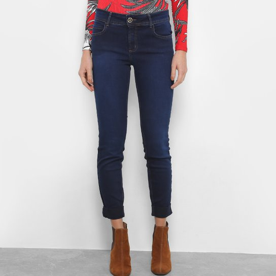 7a68620a9 Calça Jeans Skinny Colcci Fátima Dobra Barra Cintura Média Feminina - Azul