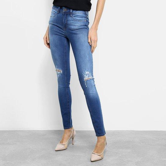 6e3126784 Calça Jeans Skinny Colcci Estonada Rasgo Joelho Cintura Média Feminina -  Azul