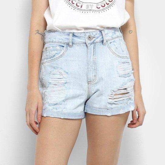 48af98e67 Shorts Jeans Colcci Taylor Com Dobra Feminino - Azul Claro