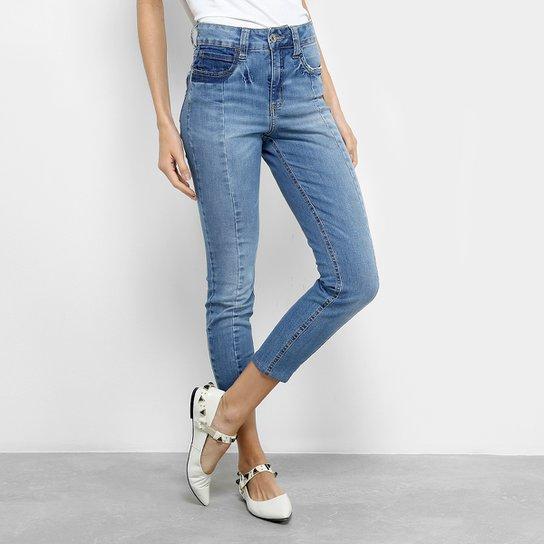 bc1f877e3 Calça Jeans Colcci Cigarrete Bia Recorte Cintura Média Feminina - Azul Claro