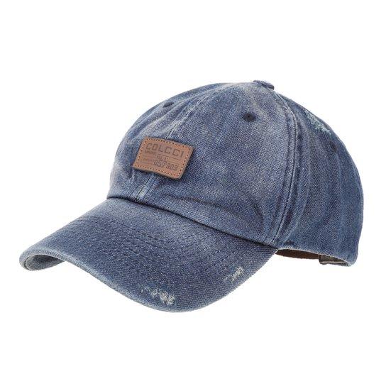 Boné Colcci Jeans Aba Curva Estonado Etiqueta Couro Masculino - Azul fc33af76bb2