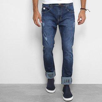 5a0a46047 Calça Jeans Reta Colcci Enrico com Dobra Bordada Masculina