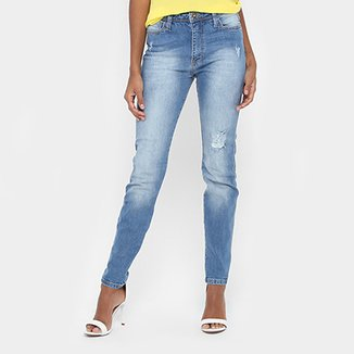 079693c5a Calça Jeans Skinny Forum Marisa Estonada Puídos Cintura Média Feminina