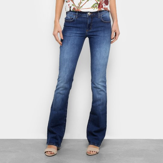 Calça Jeans Flare Forum Verônica Estonada Cintura Média Feminina - Azul  Escuro 84a1ba105c