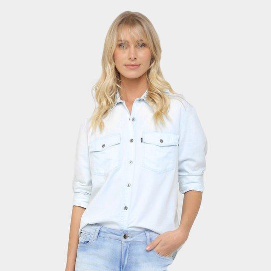 e76135fabd57ac Camisa Jeans Ellus Pedraria Feminina - Azul Claro