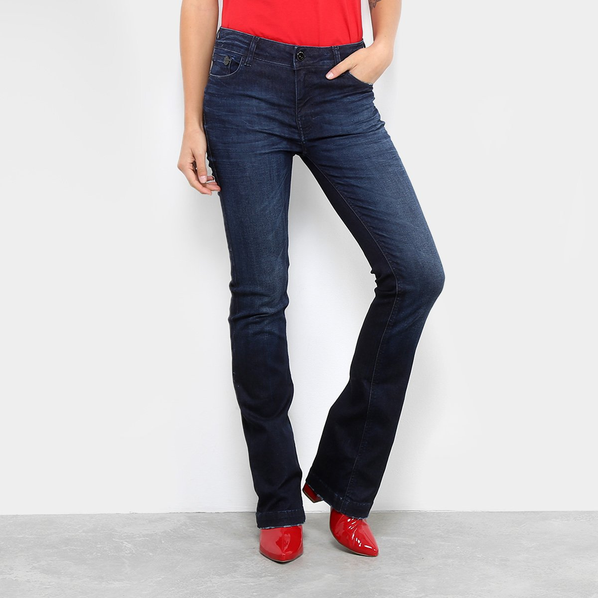 Calça Jeans Ellus Bootcut Lavagem Estonada Cintura Média Feminina 37c0e758300