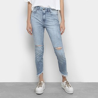 0afb6df79 Calça Jeans Cigarrete Cropped Ellus Destroyed Cintura Média Feminina