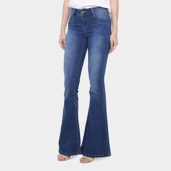 Calça Jeans Flare Sawary Estonada Cintura Média Feminina - Compre ... 917688dfbbb