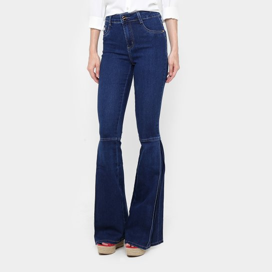 Calça Jeans Flare Sawary Recorte Cintura Alta Feminina - Compre ... cfeb73b5b2