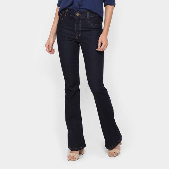 009327073 Calça Jeans Flare Sawary Cintura Alta Lavagem Escura Feminina | Zattini