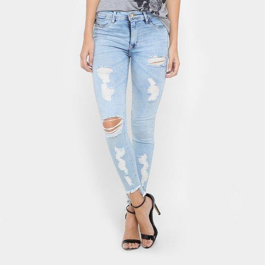 Calça Jeans Skinny Sawary Rasgada Cintura Média Feminina - Compre ... 162abedfc88fc