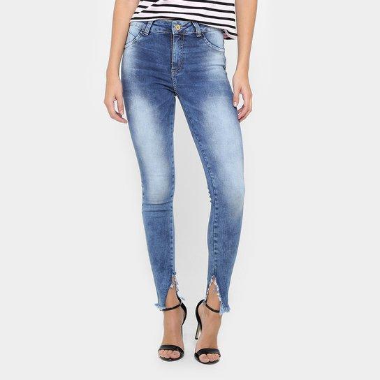 9a9dfb135 Calça Jeans Skinny Sawary Estonada Barra Assimétrica Cintura Alta Feminina  - Jeans
