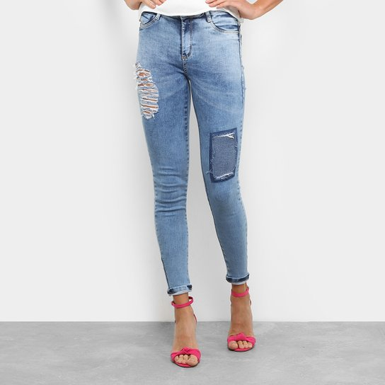 Calça Jeans Skinny Sawary Push Up Rasgos Cintura Média Feminina - Jeans cb4a3ef6345