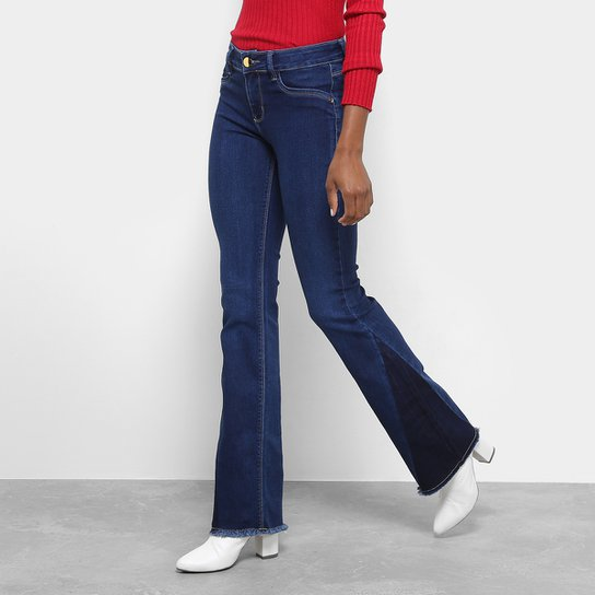 Calça Jeans Flare Sawary Barra Desfiada Cintura Média Feminina - Jeans 3b380990252