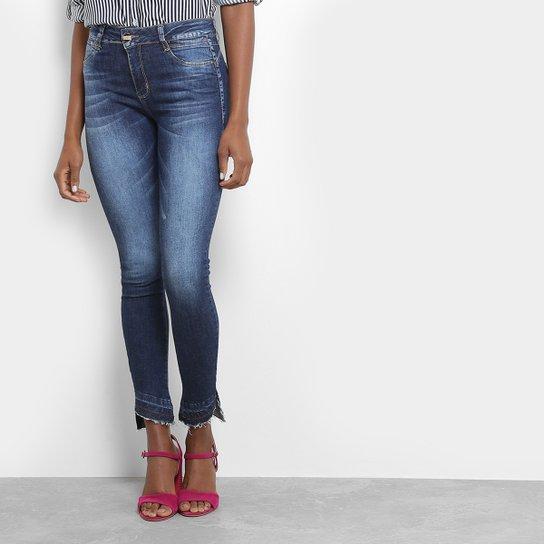 135efc21e Calça Jeans Skinny Sawary Estonada Barra Assimétrica Cintura Média Feminina  - Azul