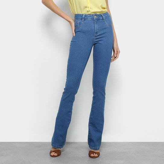 Calça Jeans Flare Sawary Lavagem Tradicional Cintura Média Feminina - Azul 821ed022e6d