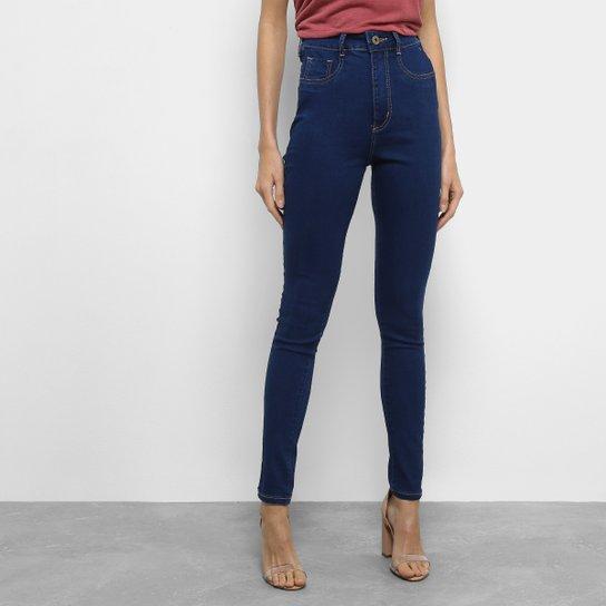 52897b48e1 Calça Jeans Skinny Sawary Modeladora Lavagem Escura Cintura Alta Feminina -  Azul