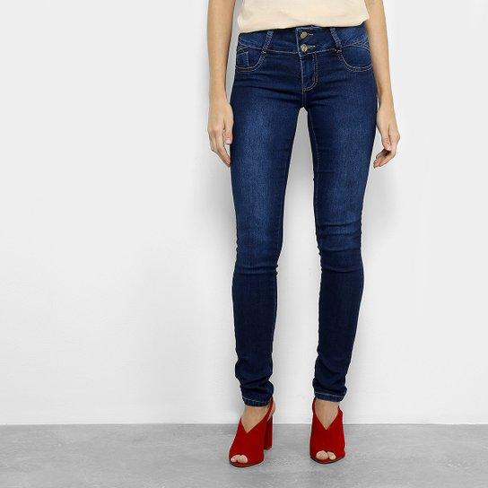 c1d5b9b526 Calça Jeans Skinny Sawary Dois Botões Cintura Baixa Feminina - Azul Escuro