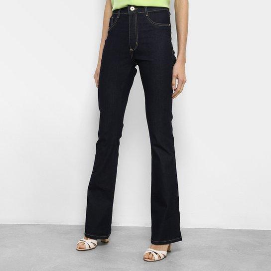 3bcb7d5bb Calça Jeans Flare Sawary Lavagem Escura Cintura Alta Feminina - Azul Escuro