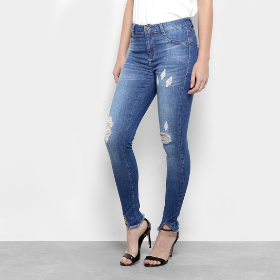 5b1120764 Calça Jeans Skinny Sawary Estonada Barra Desfiada Cintura Média Feminina -  Azul