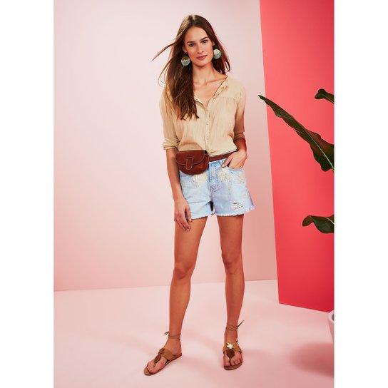 2bff31238 Short Jeans Cantão A Bordado Romantico Feminino - Compre Agora   Zattini