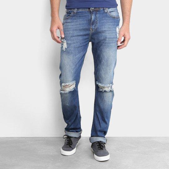d21a490616add Calça Jeans Slim Opera Rock Destroyed Masculina - Azul - Compre ...
