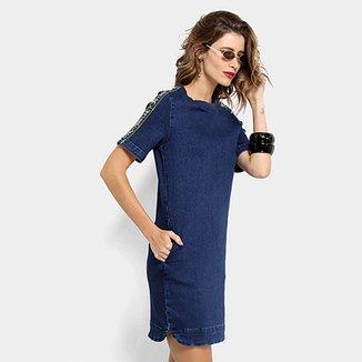 25b4fbe4d8 Vestido Jeans Lança Perfume Curto Tubinho Bolso Lateral