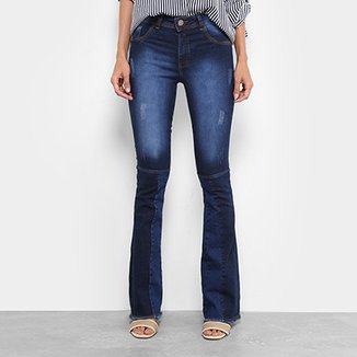 4fa2a7b551 Calça Jeans Flare Coffee Recortes Cintura Média Feminina