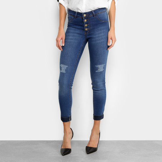 b013bab60 Calça Jeans Skinny Coffee Barra Dobrada Botões Cintura Média Feminina -  Jeans