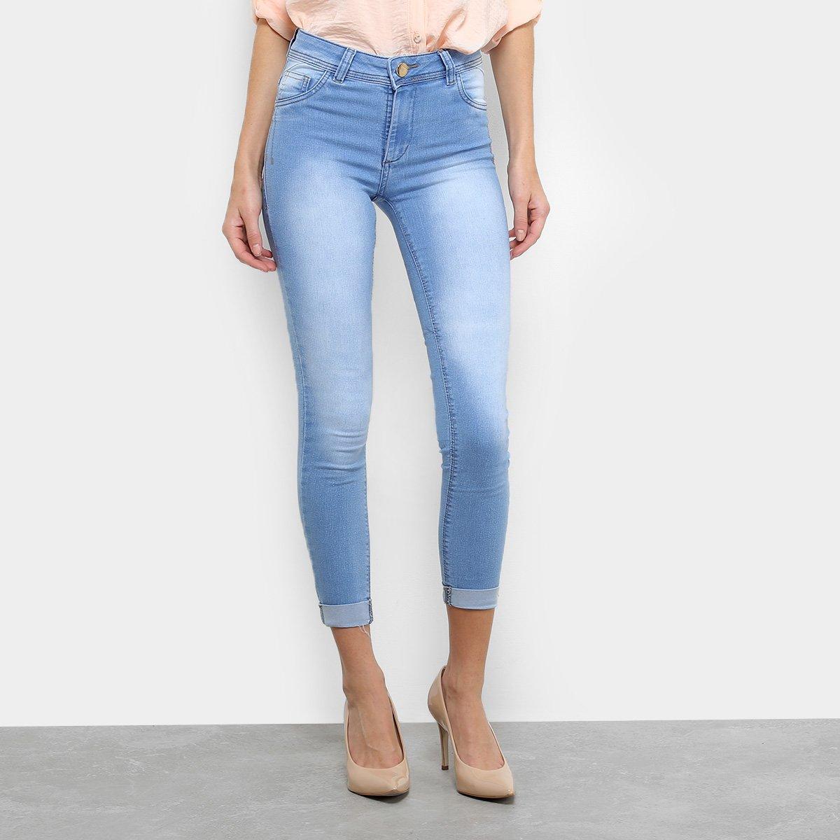 Calça Jeans Skinny Coffee Estonada Cintura Média Feminina