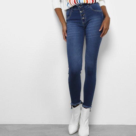 8e65f61fa Calça Jeans Skinny Coffee Botões Cintura Alta Feminina - Azul Escuro
