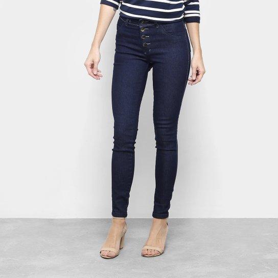 abca2f2c0 Calça Jeans Skinny Coffee Botões Cintura Alta Feminina - Azul Escuro