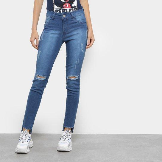 bbb58d45d Calça Jeans Skinny Coffee Rasgos Cintura Média Feminina - Compre ...