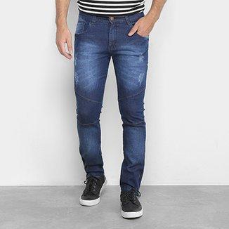 Calça Jeans Skinny Coffee Zíper Lateral Masculina 9897085b2e9