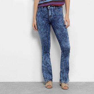 Calça Jeans Flare Coffee Cintura Média Feminina d8df8835ae6