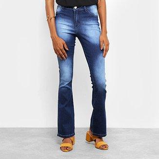 7a140f3c718f1 Calça Jeans Flare Coffee Cintura Média Feminina