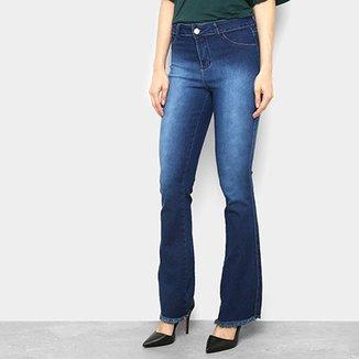 0b9c274d24d45 Calça Jeans Flare Coffee Estonada Cintura Média Feminina