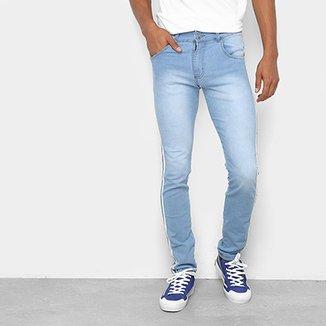 7e4840340 Calça Jeans Skinny Coffee Delavê Listras Laterais Masculina