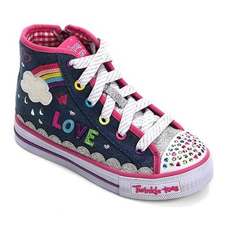 97c0361f4c372 Tênis Infantil Jeans Skechers Shuffles Sparkle Skies Feminino